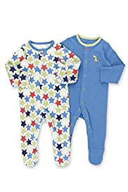 2 Pack Pure Cotton Star & Crocodile Sleepsuits