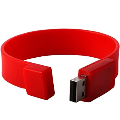 Shop4 8GB Red Wrist Band Style Novelty USB Data Memory Stick Storage Device by Shop4accessories