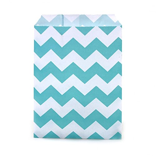 Dress My Cupcake 24-Pack Party Favor Bags, Chevron, Diamond Blue (Popcorn Bag Cupcake compare prices)