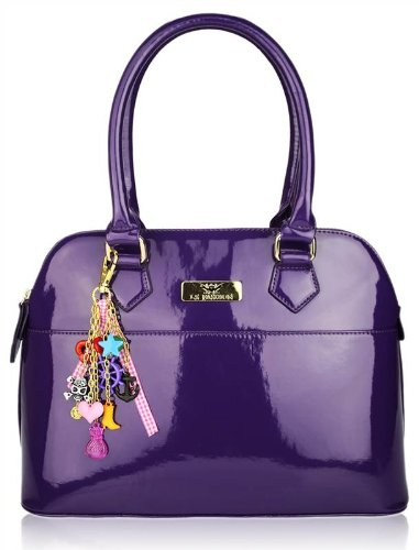 Ladiess Women Purple Designer Tote Shoulder Bag Patent Shopper Handbag