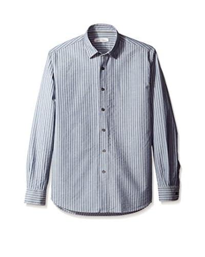 James Campbell Men's Atlanta Stripe Denim Sport Shirt