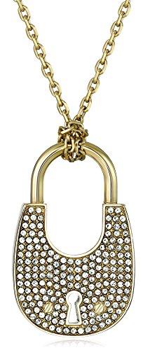 Michael-Kors-mkj4892-710-Gold-Ton-Kristall-Pav-Fassung-Vorhngeschloss-Charm-Anhnger-Halskette