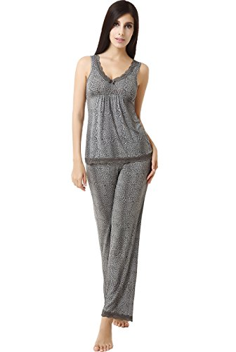 Luxury Lane Sweet Sleep Leopard Print Lace Trim Tank Top And Pants 2-Piece Set - 2X