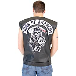 SOA Sons of Anarchy Black Leather Highway Biker Vest (Adult X-Large)