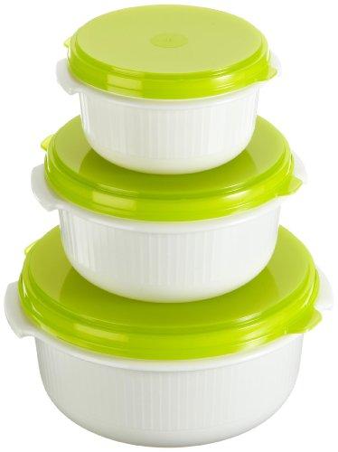 Emsa 509741 Micro Family Contenitori salvafreschezza, set da 3 0.5 / 1.0 / 1.5 l, colore: Bianco/Verde