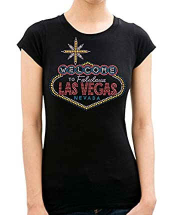LAS VEGAS Rhinestone/stud Womens T-Shirts at Amazon Women's Clothing