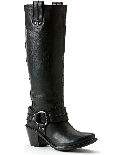 FRYE Women's Carmen Harness Tall Boot, Black Vintage Veg, 7.5 M US (Frye Carmen Harness Tall compare prices)
