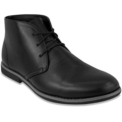 London Fog Mens Broadstreet Chukka Boot Black 8.5 M US (Men Black Boots)