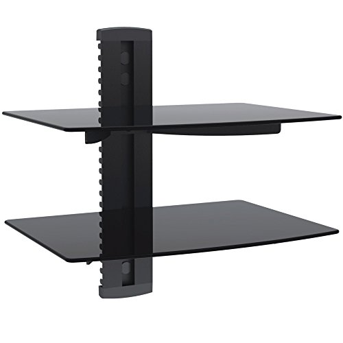 VonHaus 2x Black Floating Shelf with Strengthened Tempered Glass for DVD Players/Cable Boxes/Games Consoles/TV Accessories