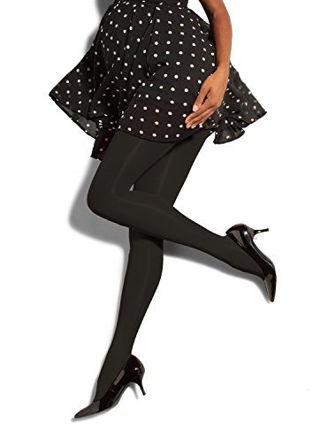 Preggers Opaque Maternity Tights - Black-Large