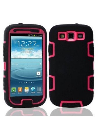 Noarks ® Defender Armor Case 3In1 Robot Combo Hard Soft High Impact Armor Case Skin Gel For Samsung Galaxy S3 I9300 (Black Red) front-592318
