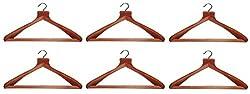 Atorakushon Pack Of 6 Pieces Wooden Coat Hangers For Coat Paint Jeans