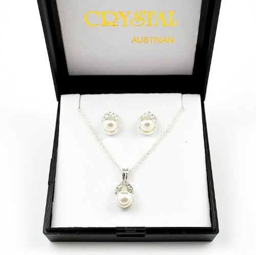 Austrian Crystal & Faux Pearl Design Necklace & Earring Set in Black Gift/Presentation Box.