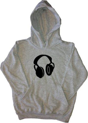 Headphones Music Grey Kids Hoodie (Black Print)-5-6 Years
