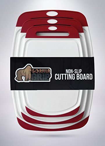 The Original GORILLA GRIP (TM) Non-Slip Reversible Cutting Boards Feature Powerful Gripping Technology, BPA Free, FDA Approved Materials, Dishwasher Safe (Set of 3: Red)