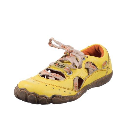 TMA EYES 4509 Sandalette Schnürer Gr.37-42 mit bequemen perforiertem Fußbett , Leder 39.35 super leichter Schuh der neuen Saison. ATMUNGSAKTIV in Gelb Gr.37