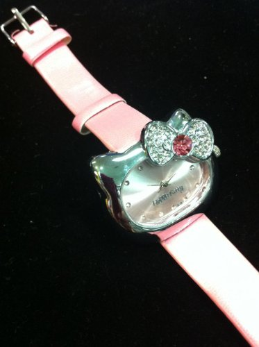 Hello Kitty Watch (Pink Face Shape) Watch with Rhinestone