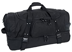 Mercury Luggage Code Alpha 1132-BK Wheeled Duffle w Drop bottom Black by Code Alpha