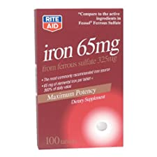 Rite Aid Iron 65 mg, Dietary Supplement, Dietary Supplement 100 ct.
