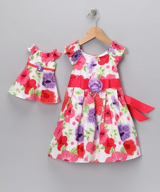 Dollie & Me Summer Dress Coral Floral Matching 18