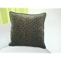 Leopard Print Velvet Pillow Cover - Color Brown