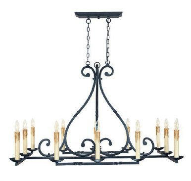 World Imports Wi61819 Wrought Iron 12 Light Oval Chandelier From The Iron Works Collection front-189235