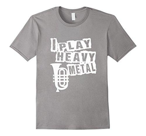 Men's FUNNY HEAVY METAL T-SHIRT TUBA MUSIC TEACHER STUDENT XL Slate (Marching Band Halloween Costume)