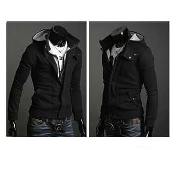 Leegoal Mens Casual Luxury Buckle Top Designed Jacket Hoodie Slim Sweatshirt Coat (M, Black)