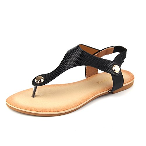 Mu Dan Women Nail Casual Wear Gladiator Flat T-Strap Sandals (9 B(M) US, BLACK)