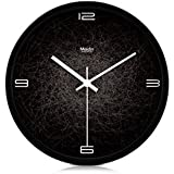 JustNile Modern Creative Round 12-inch Non Ticking Silent Wall Clock - Spiderweb