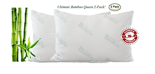 Ultimate Bamboo Pillow -Stay Cool Pillow-Poly Fiber Queen 2-Pack Filled in the USA-Hotel Quality Hypoallergenic Pillow-Best Pillow for Stomach, Back, and Side Sleepers-Satisfaction Guaranteed