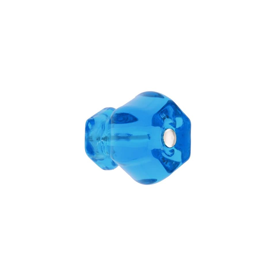 Large Hexagonal Peacock Blue Glass Cabinet Knob With Nickel Bolt. Dresser Knobs.