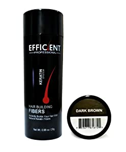 EFFICIENT Keratin Hair Building Fibers, Hair Loss Concealer Net Wt. 28gm / 0.98 oz (Dark Brown)