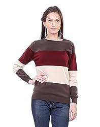 Kalt Women's Cotton Sweater(W115 MM L_Maroon Multi_Large)