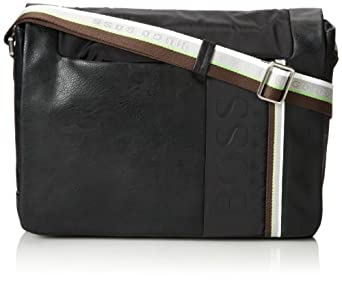 (新品)雨果Hugo Boss GREEN Comeo Messenger 男士真皮时尚休闲信使包 中灰$295