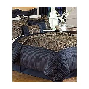 discount comforter sets 24 piece deep blue simone room in a bag bedding set queen size bedding. Black Bedroom Furniture Sets. Home Design Ideas