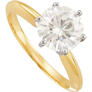 14K Yellow/White Gold Created Moissanite Solitaire Engagement Ring: 8 mm Size: 9