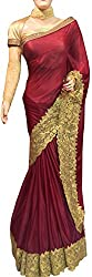 Brown Designer Georgette With Embroidered Saree.