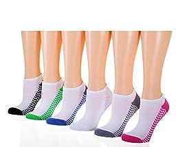 Tipi Toe Women\'s 6-Pack No Show Athletic Socks, Sock Size 9-11 Fits Shoe 6-9, SP06-6