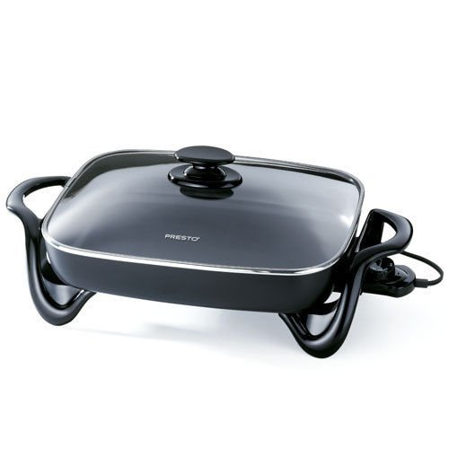 16″Kitchen Electric Skillet w/ Glass Cover, glass cover, aluminum, warp-proof