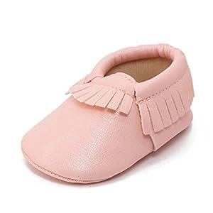 Sagton Baby Kids Tassel Soft Sole Leather Crib Shoes Infant Boy Girl Toddler (US:3, Pink)