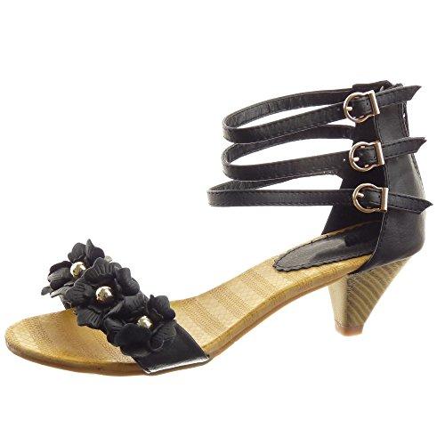 Sopily - Scarpe da Moda sandali alla caviglia donna fiori multi-briglia borchiati Tacco a cono tacco alto 5.5 CM - Nero WLDB1-888-32 T 38