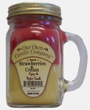 Strawberries and Cream 13 oz Mason Jar Candle (Our Own Candle Company Brand) Made in USA - 100 hr burn time