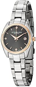 Stuhrling Original Women's 414L.04 Classic Ascot Prime Stainless Steel Bracelet Watch with Rose-Tone Bezel and Swarovski Crystals