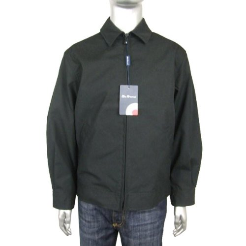 Mens Ben Sherman Jacket Coat Harrington Mod Black Smart Party Full Zip Size S