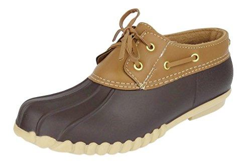 Outwoods Women's Autumn-5 Two-Tone Lace-Up Duck Bootie Rain Shoes, Brown, 9 B(M) US (Go Go Boots Australia)