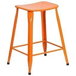 24-inch Metal Indoor-Outdoor Counter Height Stool - Orange