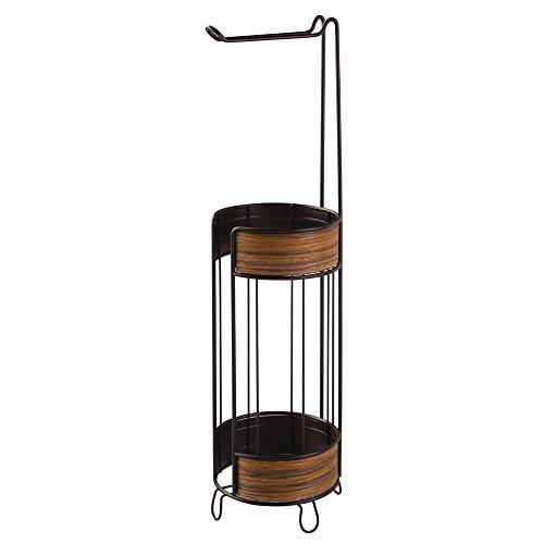 interdesign-90260eu-realwood-support-de-papier-toilette-auto-portant-pour-salle-de-bain-bois-marron-