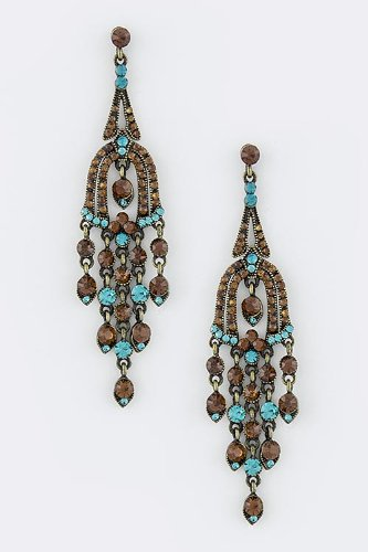 Baubles & Co Crystal Bell Chandelier Earrings (Brown/Turquoise) front-1001923