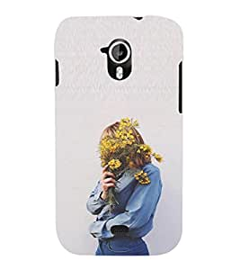 EPICCASE Shy Giry with flower Mobile Back Case Cover For Micromax A116 Canvas HD (Designer Case)
